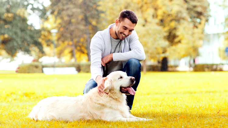 man with dog in a park
