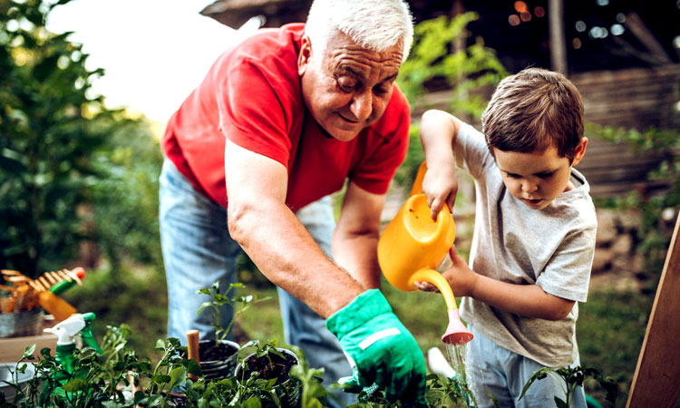 Man gardening with grandchild